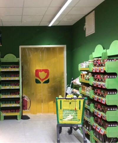 Rideau couleurs pour supermarche