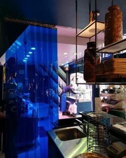 Rideaux a lanieres pvc bleu transparent sur mesure