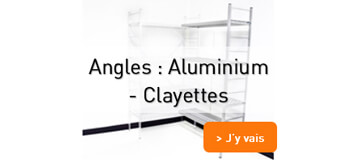 Angle  rayonnage alimentaire aluminium et clayettes plastiques