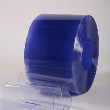 Rouleau lanières PVC souple transparent azuré bleu