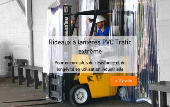 Rideau a lanieres PVC trafic extreme