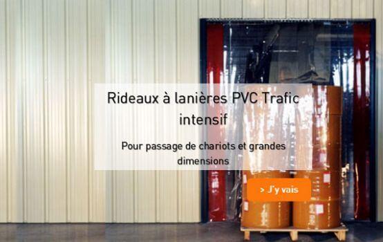 Rideau à lanières PVC trafic intensif avec passage chariot élévateur