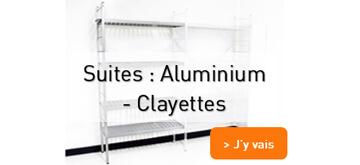 Suite rayonnage aluminium et clayettes plastiques