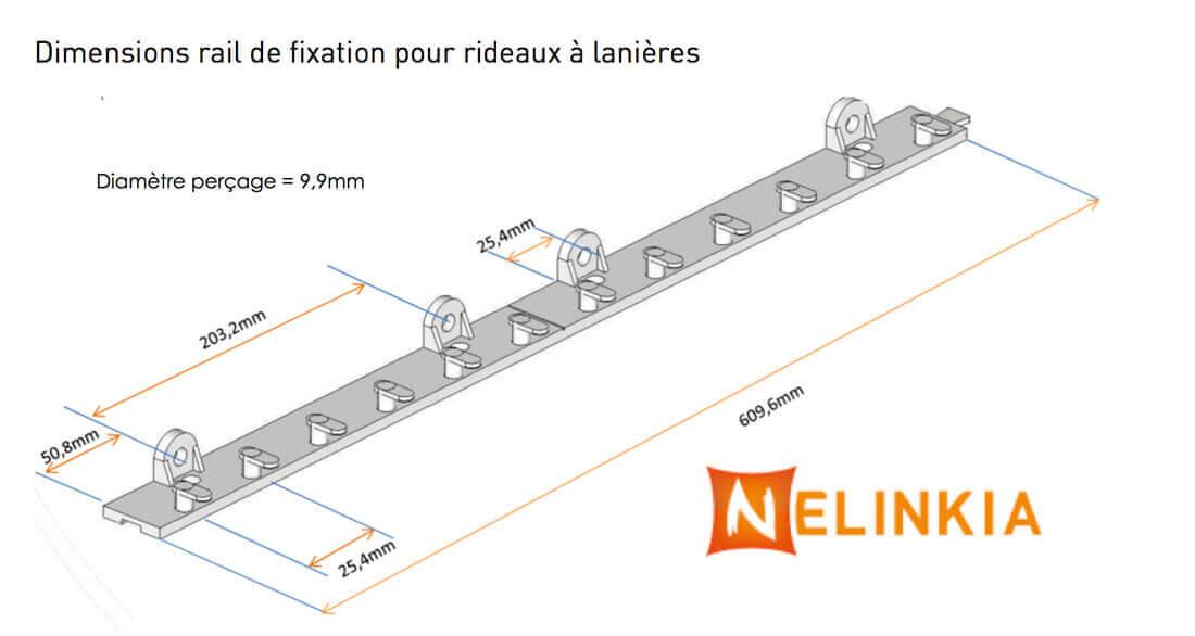 Dimensions rail de fixation pour rideau à lanières