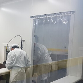 Rideaux a lanieres PVC Trafic modere pieton température ambiante